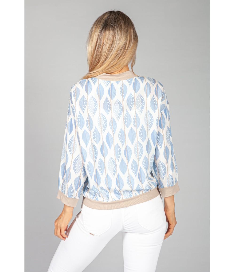 Pamela Scott Light Blue Leaf Print Bomber Jacket
