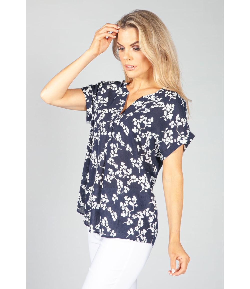 Twist Navy Blossom Print Blouse