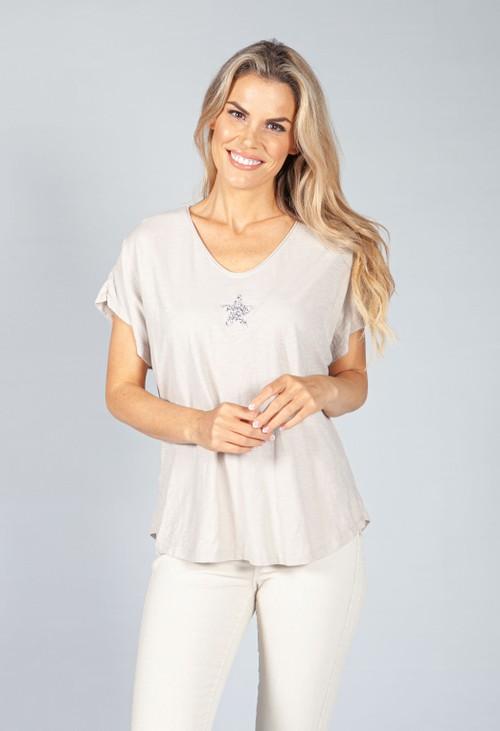 Pamela Scott Sand Sequin Star Top