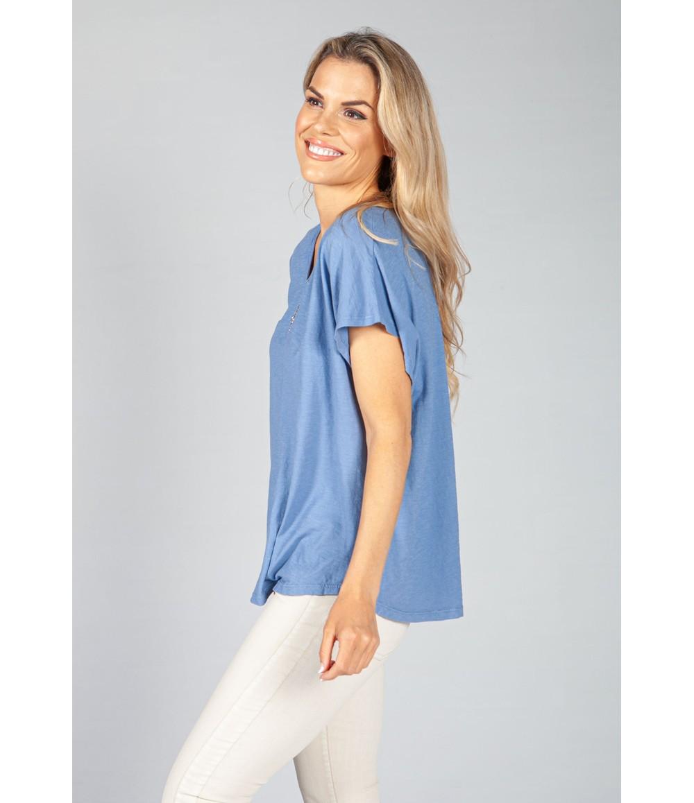Pamela Scott Sky Blue Sequin Star Top