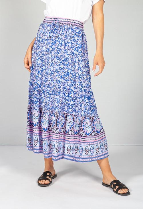 Pamela Scott Royal Blue Blossom Print Skirt