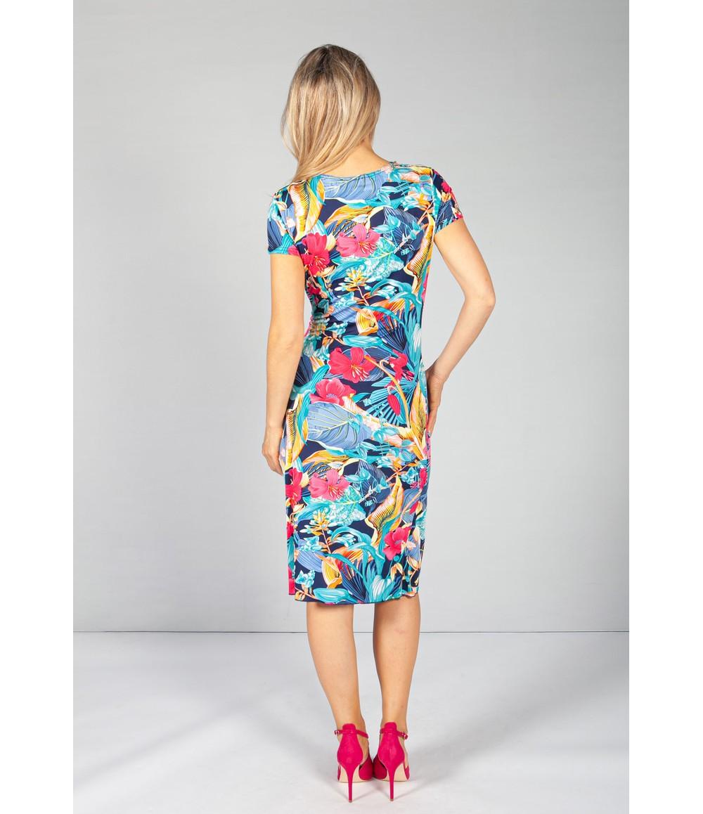 Zapara Ruched Waist Dress in Floral Pink