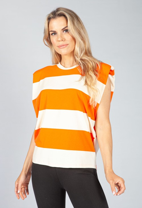 Pamela Scott Summer Orange Stripe Sleeveless Tee