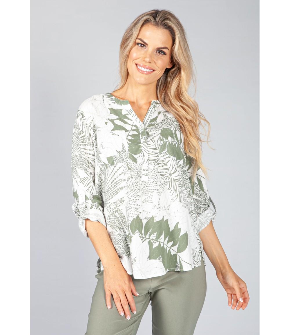 Twist Khaki Palm Print Blouse