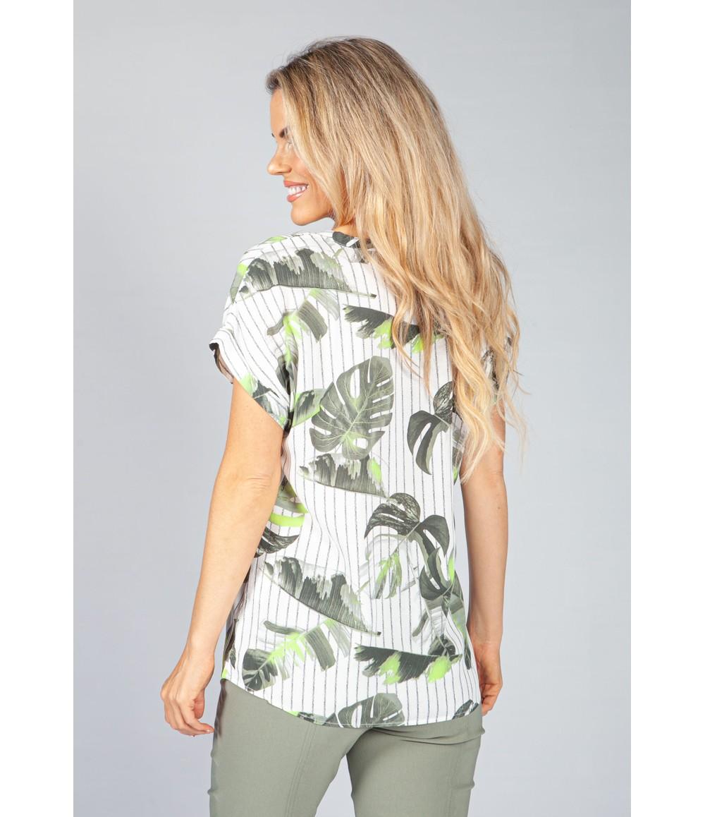 Pamela Scott Khaki Palm and Stripe Blouse