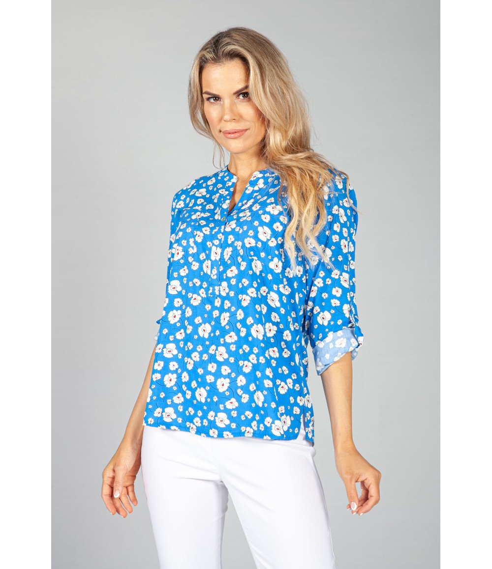 Twist Bright Blue Floral Pop Blouse