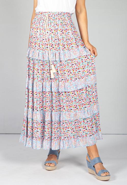 Pamela Scott Blue & Pink Floral Maxi Skirt