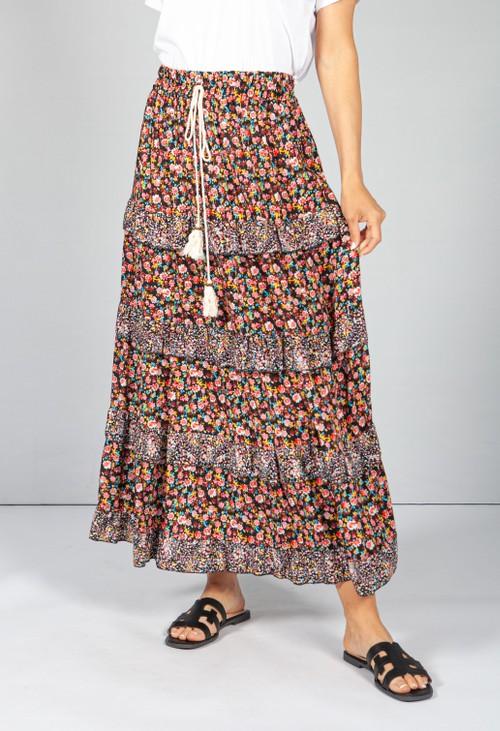 Pamela Scott Red & Black Floral Maxi Skirt