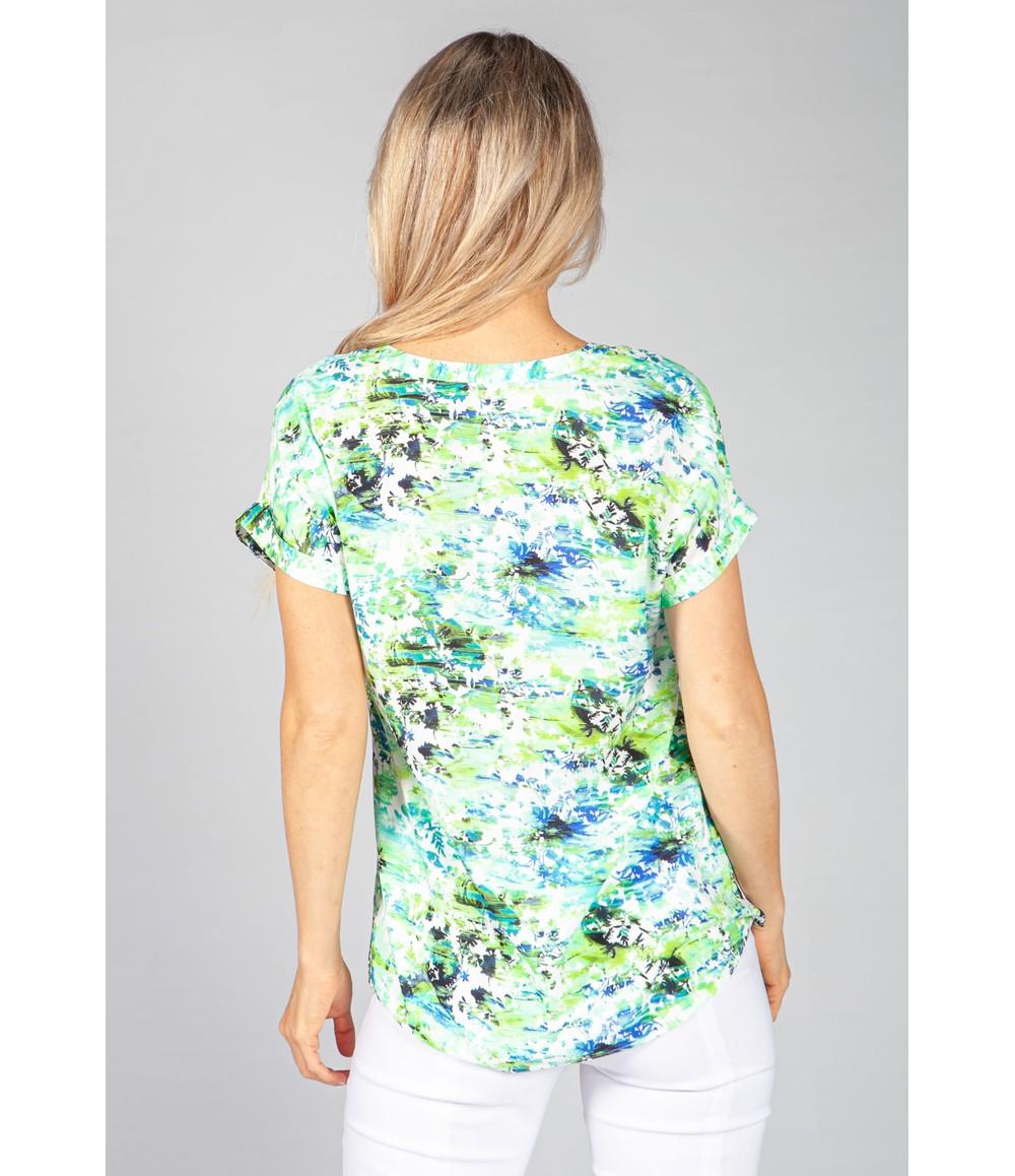 Twist Lime Palm Print Blouse