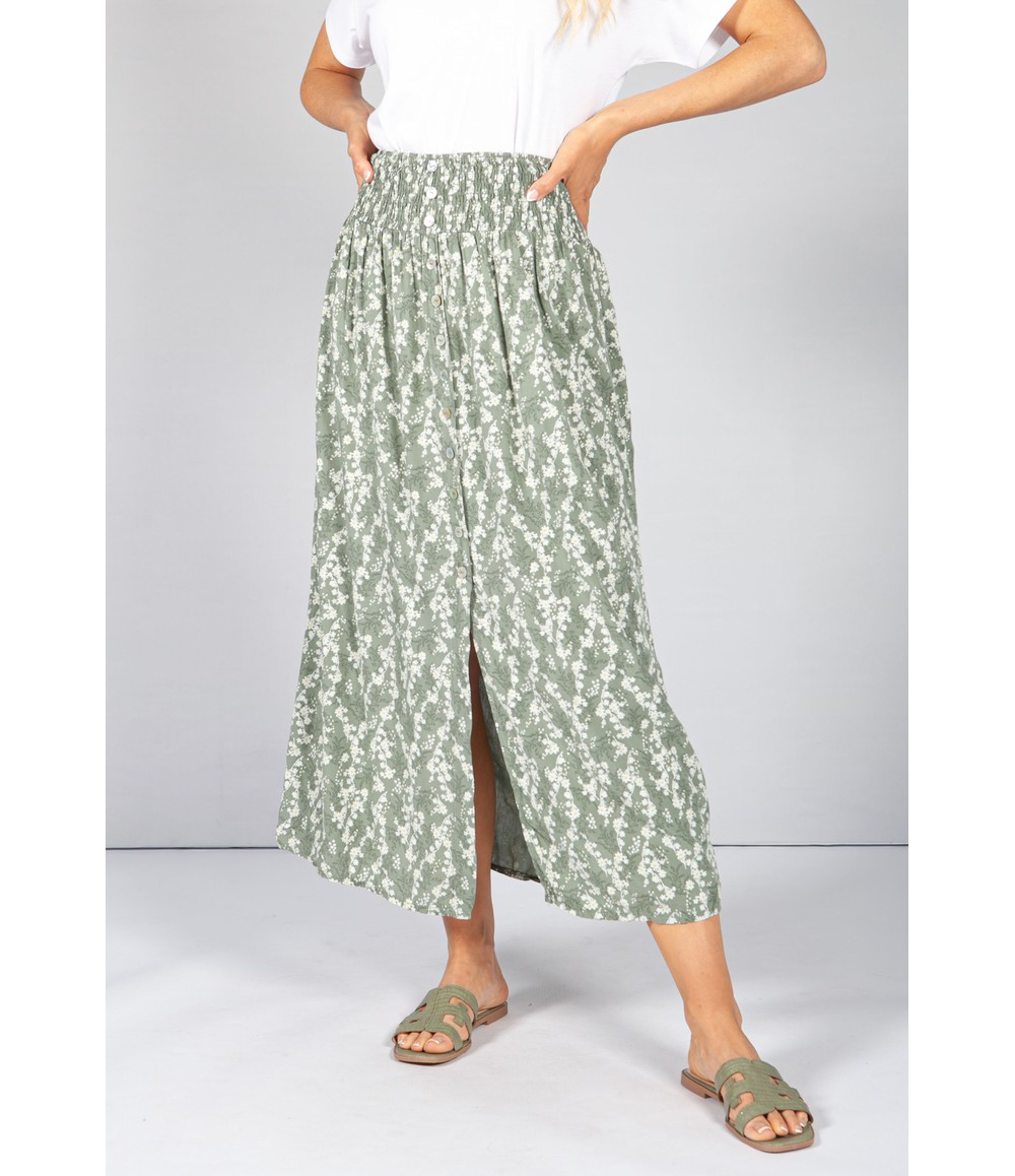Pamela Scott Khaki Faux Button Through Wild Flower Print Skirt