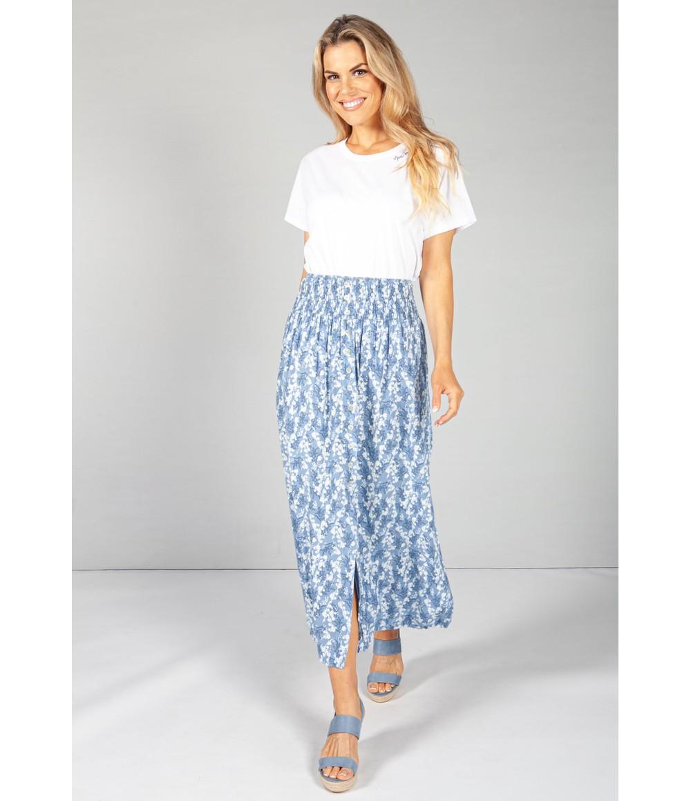 Pamela Scott Sky Blue Faux Button Through Wild Flower Print Skirt