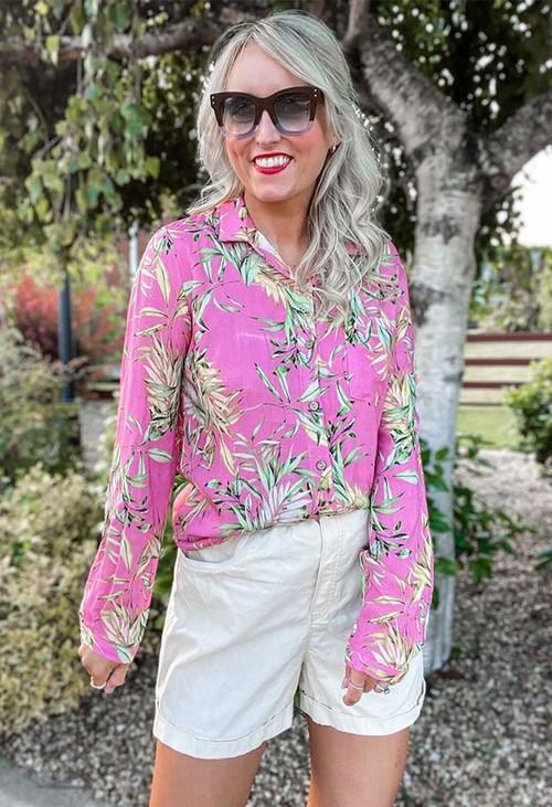 Pamela Scott Tropical Palm Print Shirt in Pink