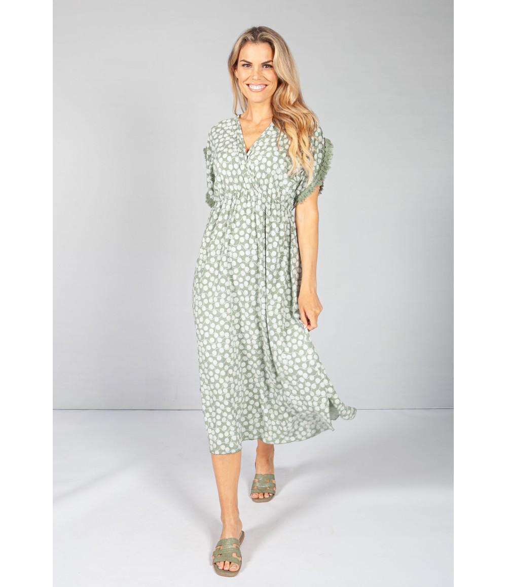 Pamela Scott Sage Swirl Print Dress
