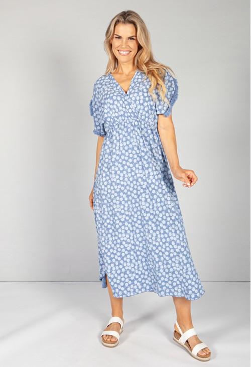 Pamela Scott Afternoon Sky Swirl Print Dress