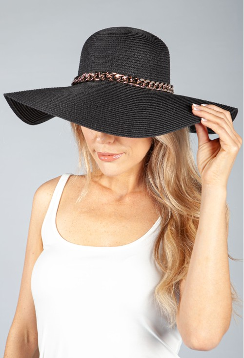 PS Accessories Black Sun Hat with Gold Chain