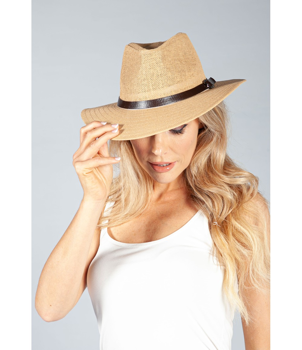PS Accessories Toasted Straw Buckle Detail Hat