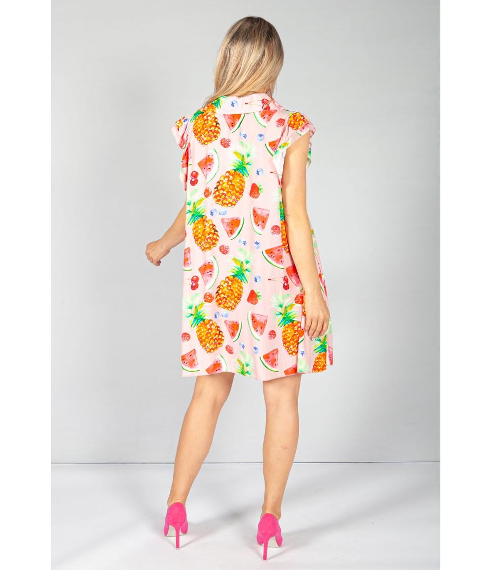 Pamela Scott Watermelon Shirt Dress in Pink