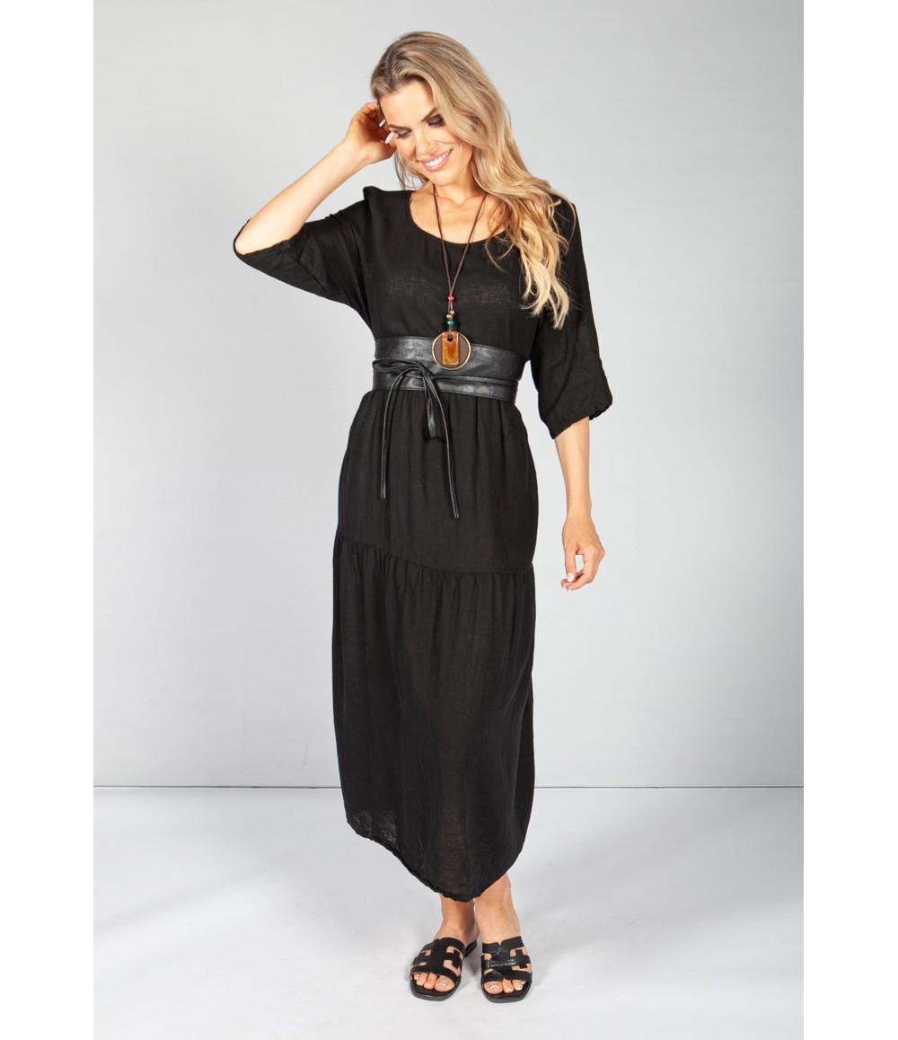Pamela Scott Black Summer Linen Maxi Dress