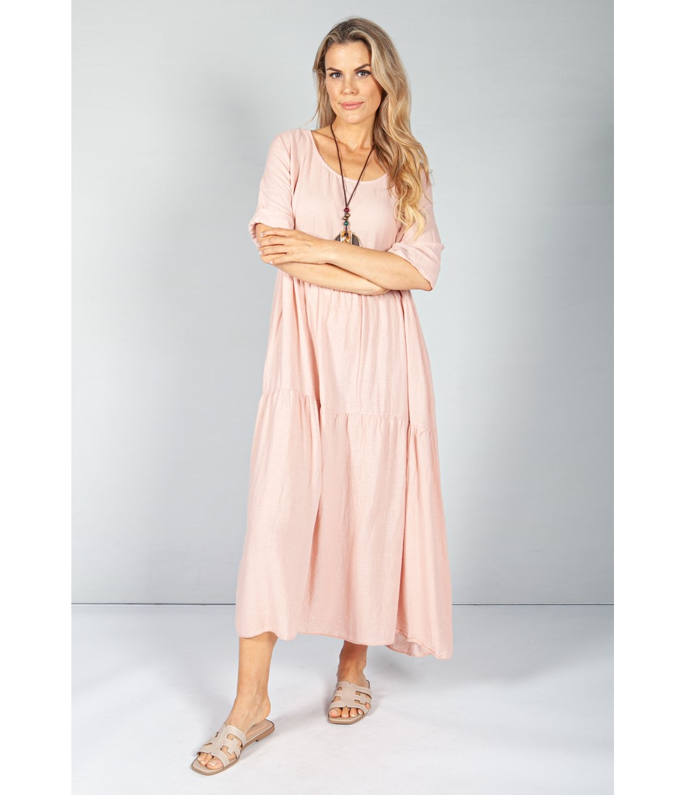 Pamela Scott Rose Summer Linen Maxi Dress