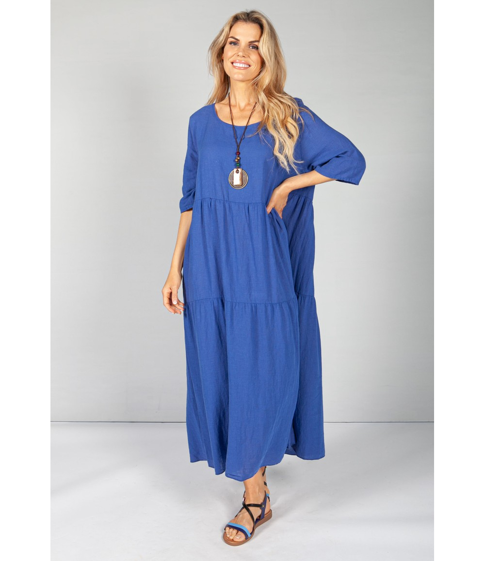 Pamela Scott Royal Blue Summer Linen Maxi Dress