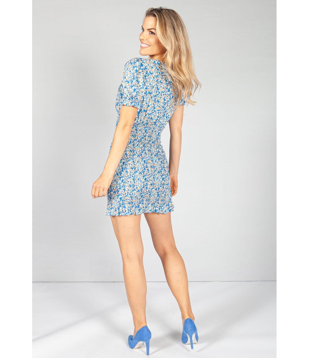 Pamela Scott Deep Blue Bloom Smocking Dress
