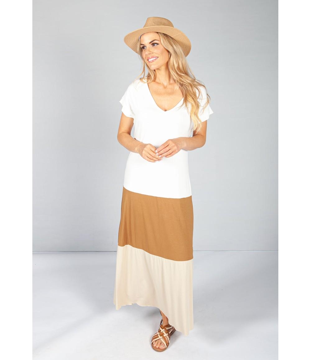 Pamela Scott Cream Colour Block Maxi Dress