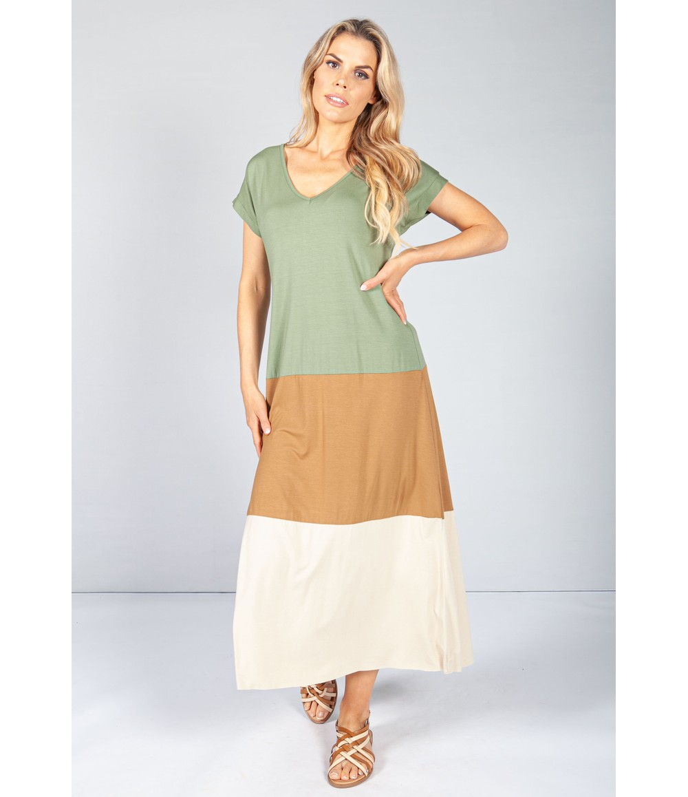 Pamela Scott Khaki Colour Block Maxi Dress