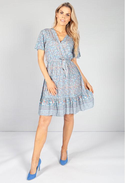 Pamela Scott Blue Floral Ruffle Hem Wrap Mini Dress