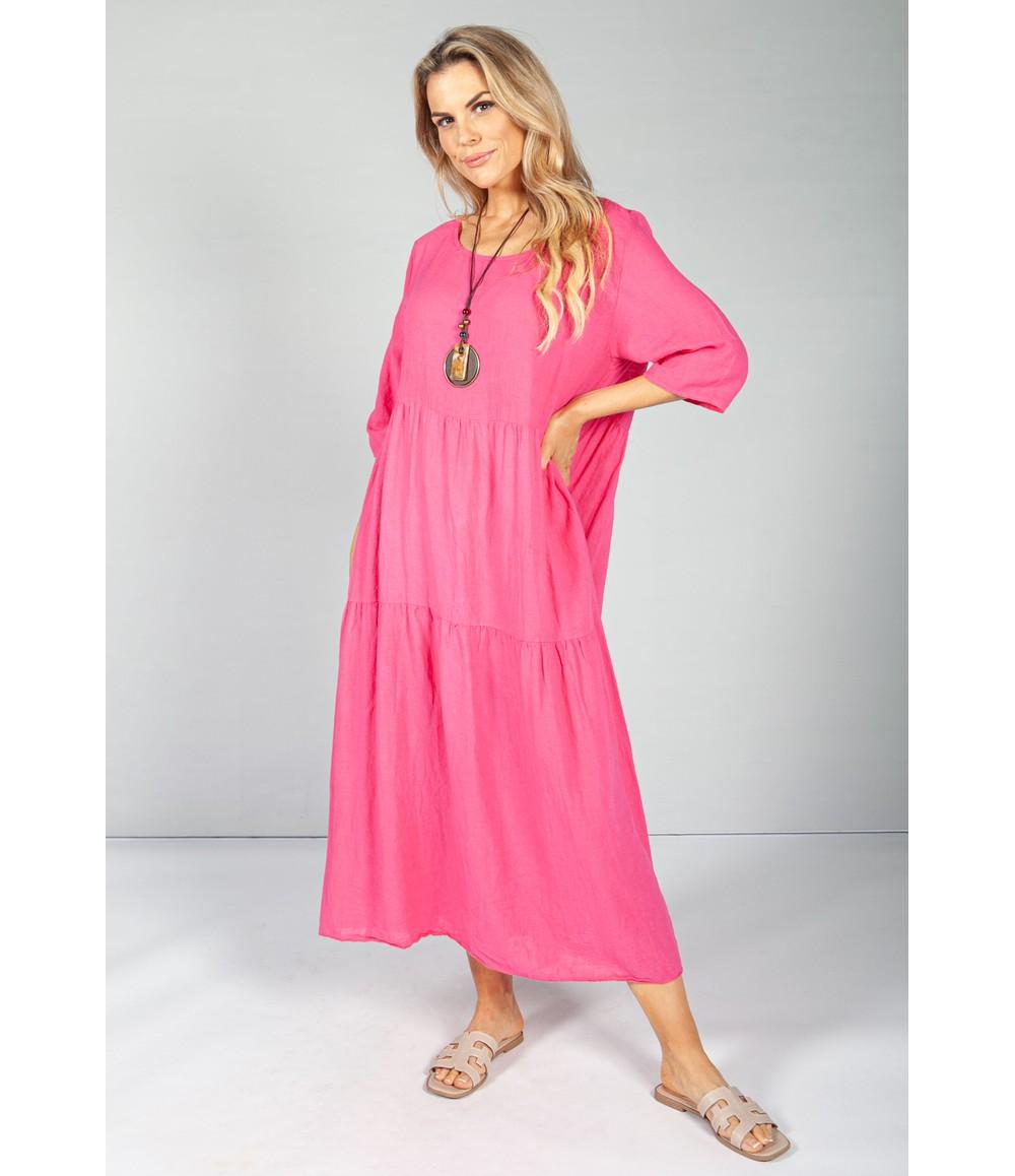 Pamela Scott Candy Pink Summer Linen Maxi Dress