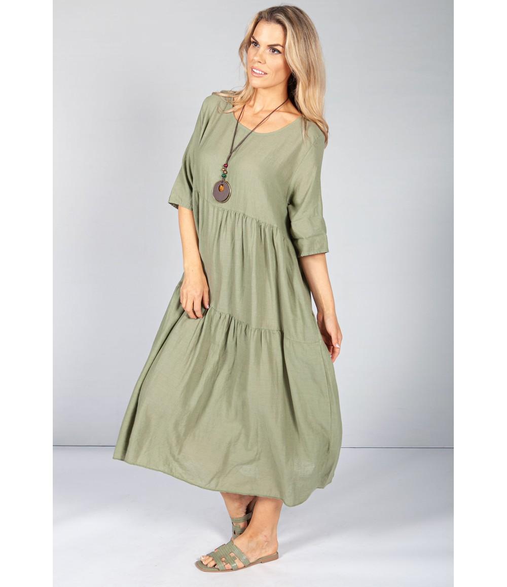 Pamela Scott Khaki Summer Linen Maxi Dress