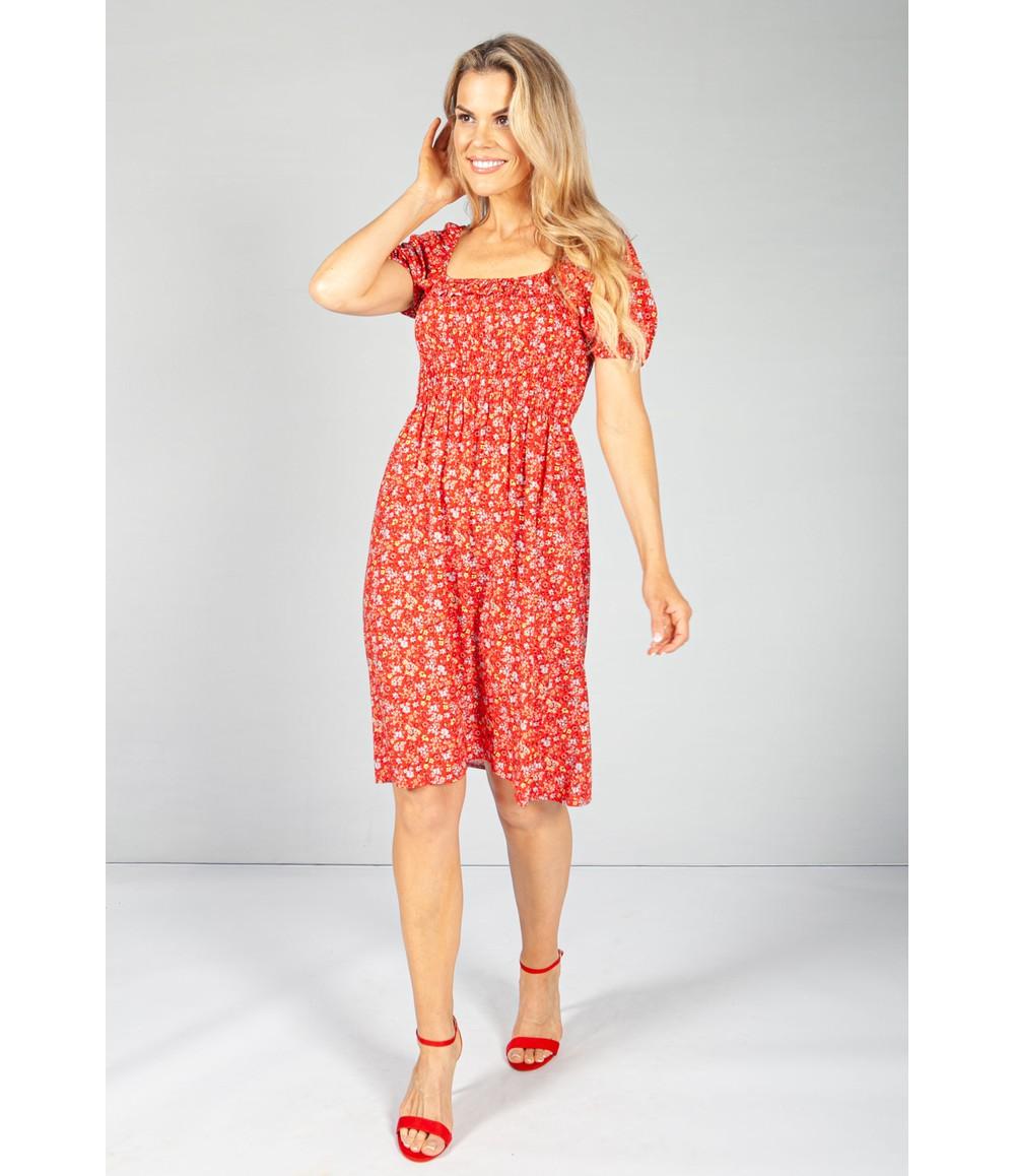 Pamela Scott Frill Detail Smocking Dress in Ruby Bloom
