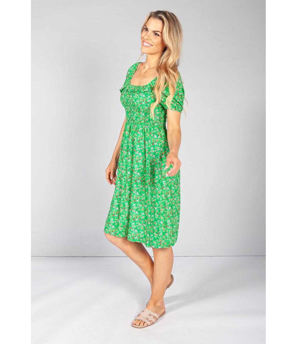Pamela Scott Frill Detail Smocking Dress in Emerald Bloom