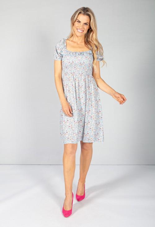 Pamela Scott Light Blue Floral Smock Midi Dress
