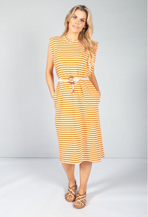 Pamela Scott Summer Orange Stripe Belted Dress