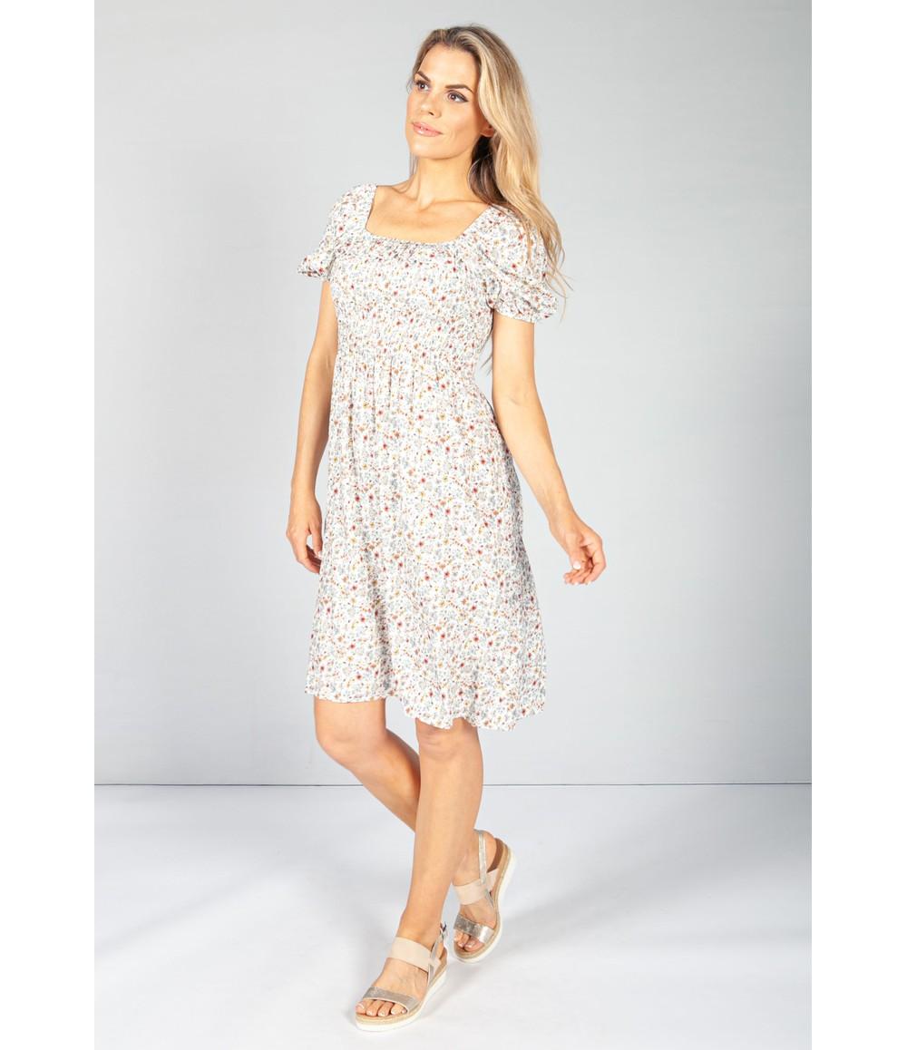 Off White Floral Smock Midi Dress