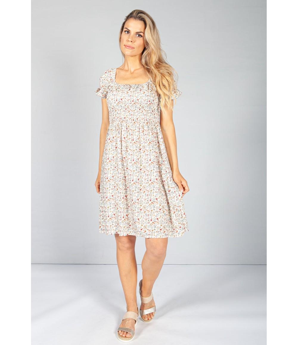 Pamela Scott Cream Floral Smock Midi Dress