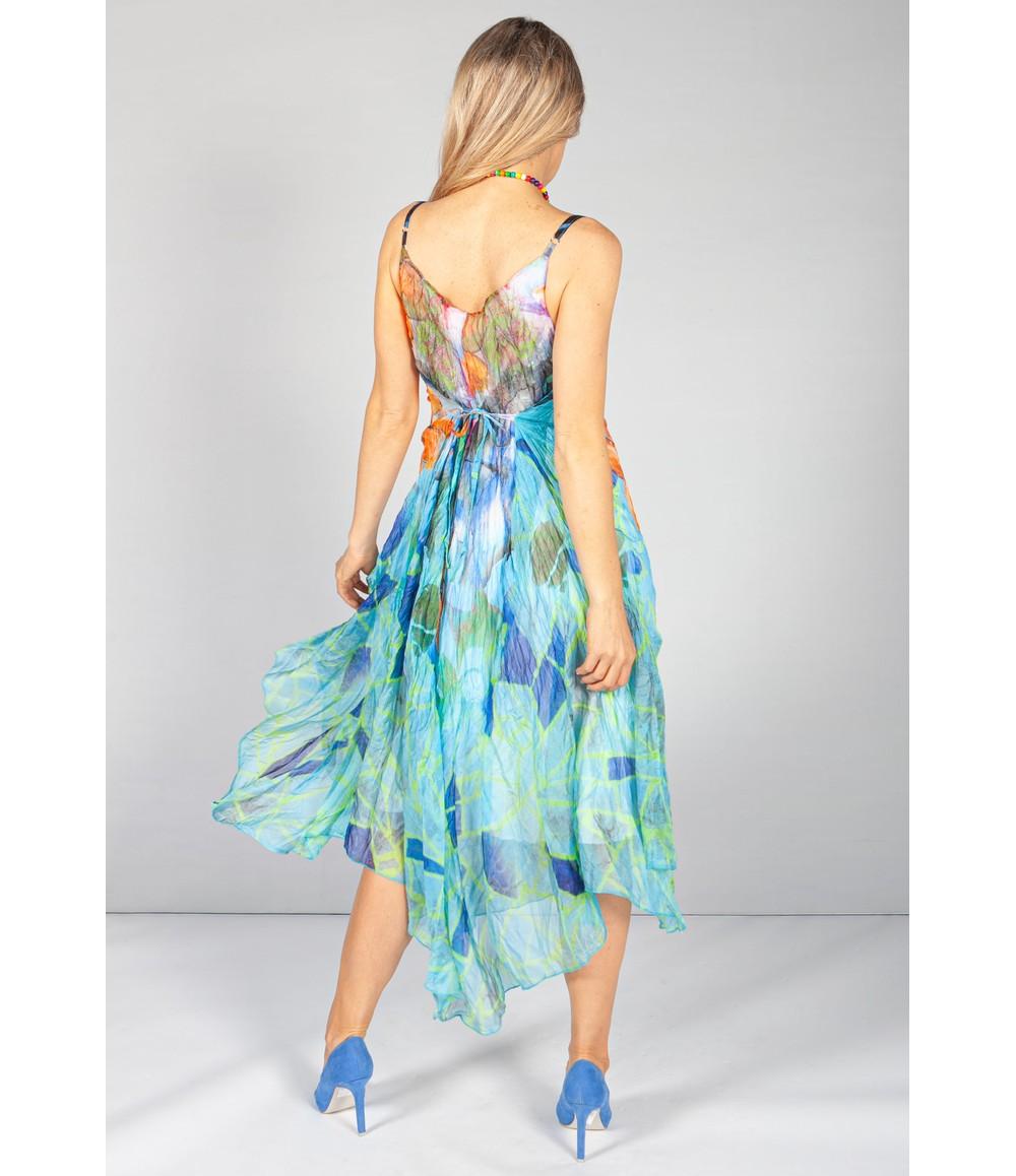 Pamela Scott Crepe Bright Floral Maxi Dress