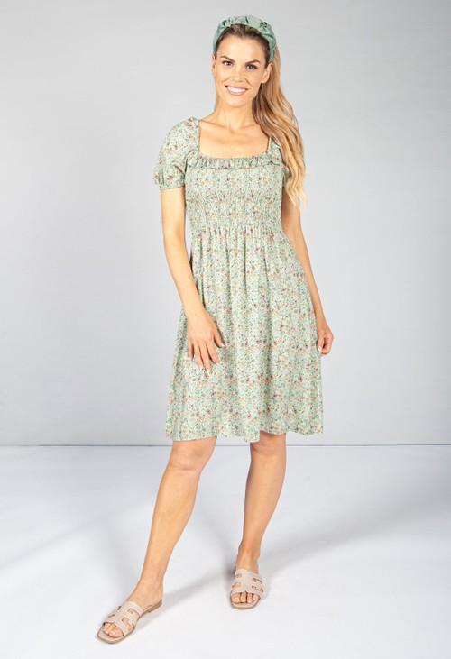Sage Floral Smock Midi Dress