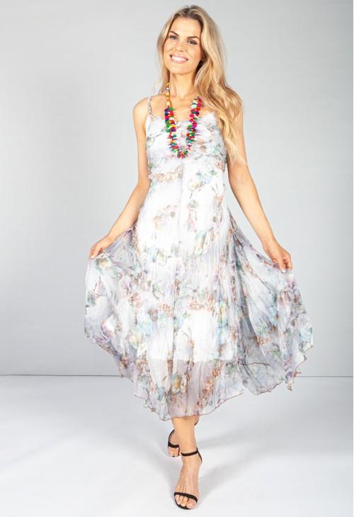 Pamela Scott Soft Grey Floral Crepe Maxi Dress