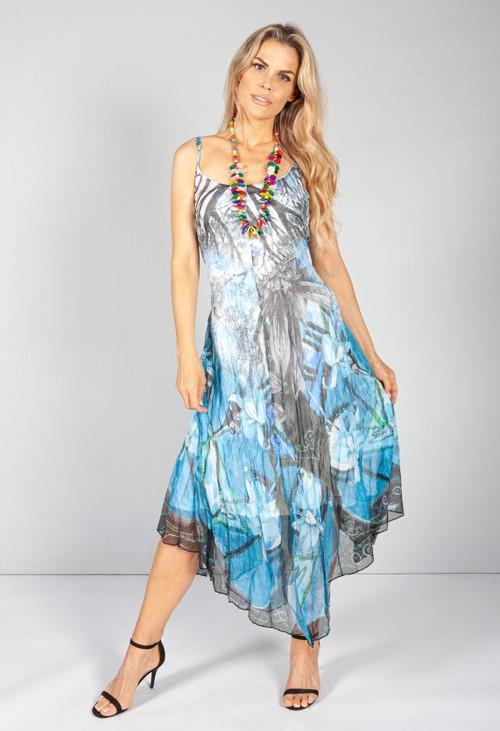 Pamela Scott All The Blues Crepe Maxi Dress