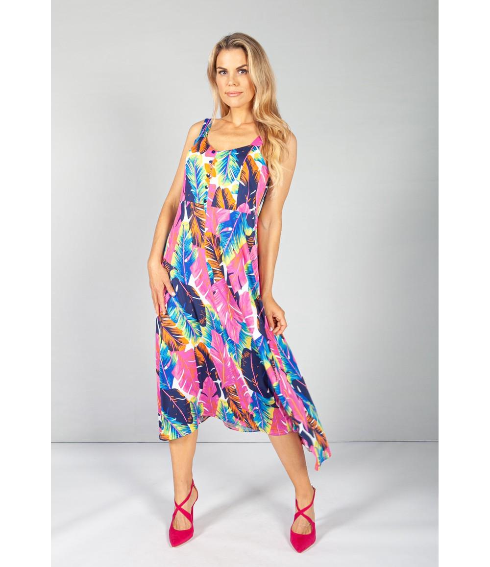 Zapara Pink Tropics Print Button Bodice Dress