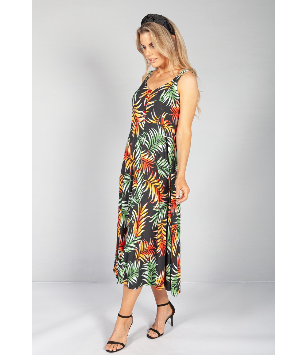 Zapara Palm Print Button Bodice Dress