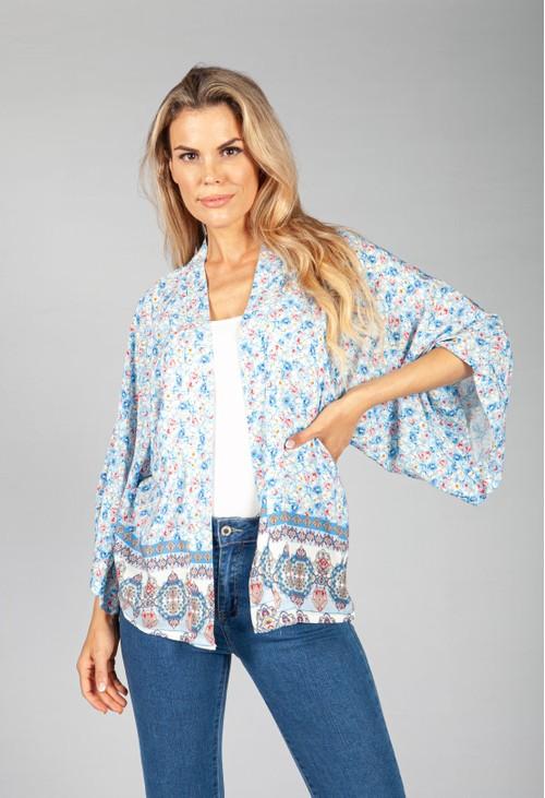 Pamela Scott Blue Floral Kimono Style Cardigan