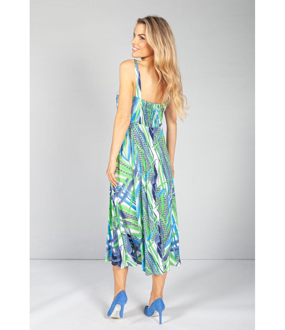 Zapara Geometric Leaf Print Button Bodice Dress