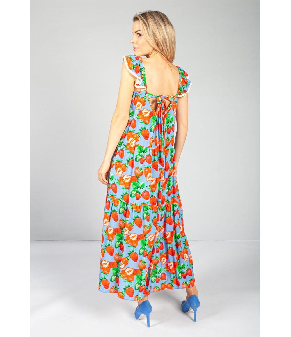 Pamela Scott Strawberry Lace Trim Dress in Sky Blue