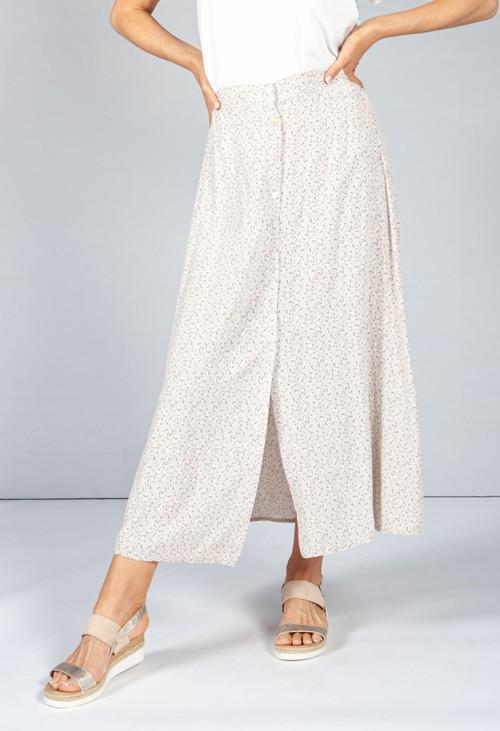 Pamela Scott Beige Floral Midi Skirt