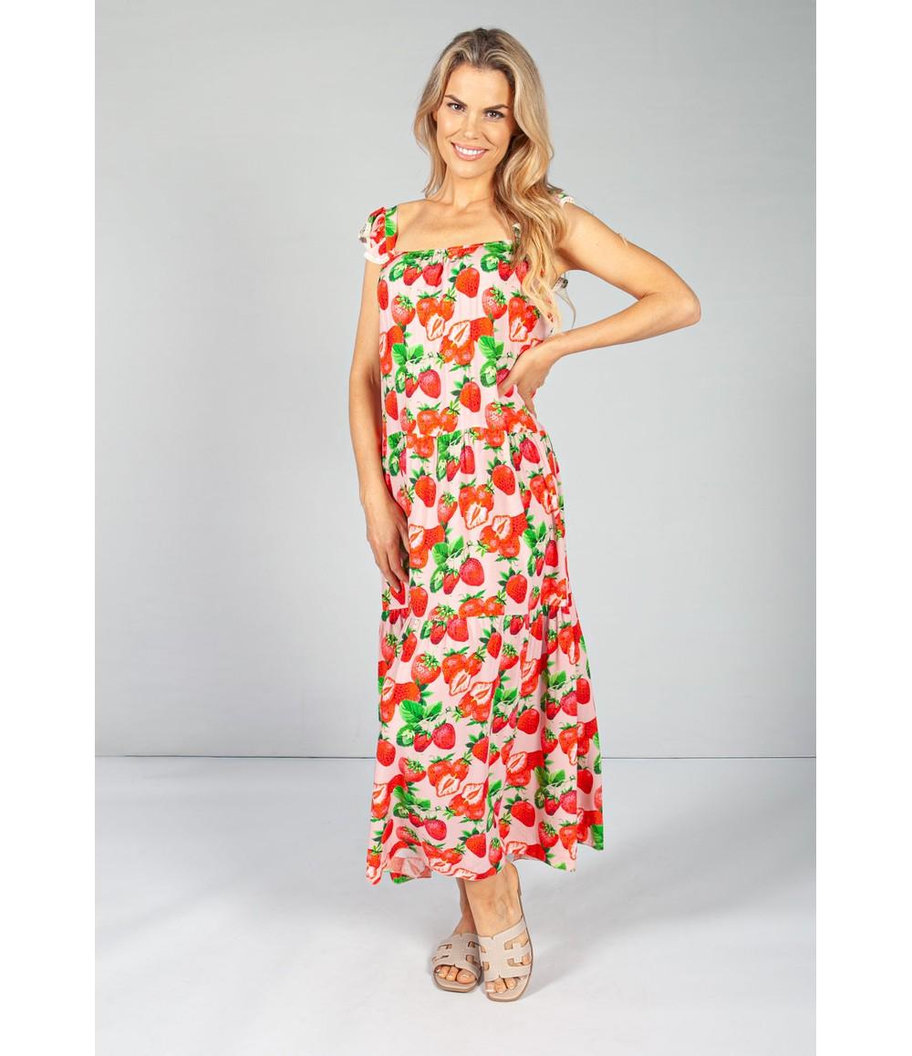 Pamela Scott Strawberry Lace Trim Dress in Dusted Rose