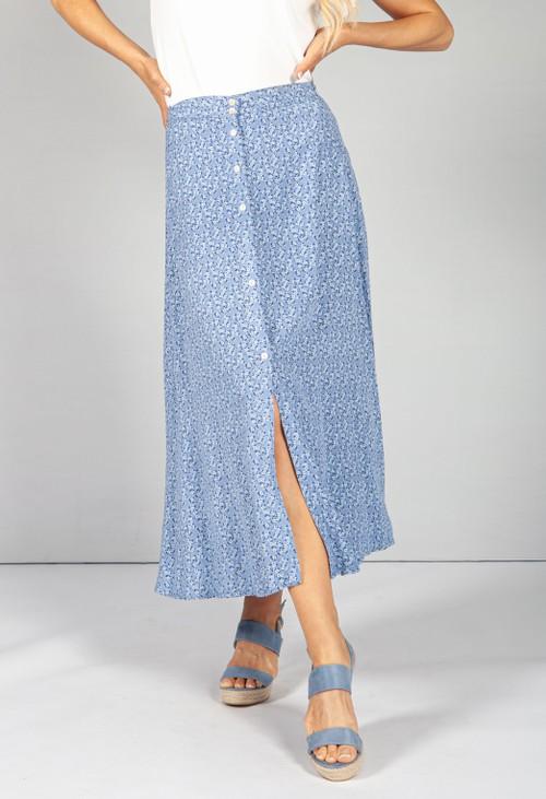 Pamela Scott Sky Blue Floral Midi Skirt