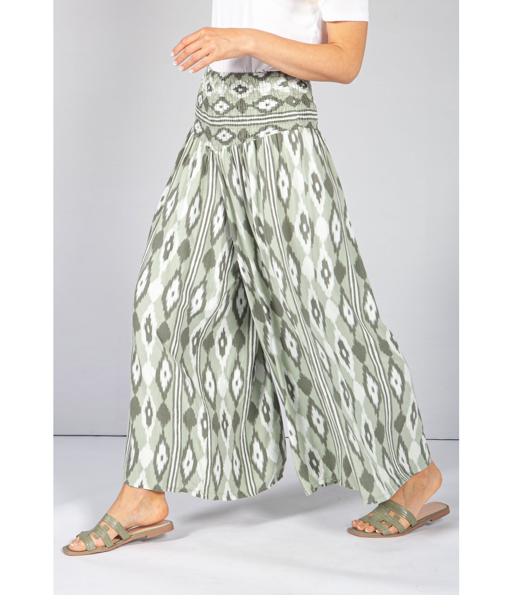 Pamela Scott Light Khaki Abstract Print Trousers
