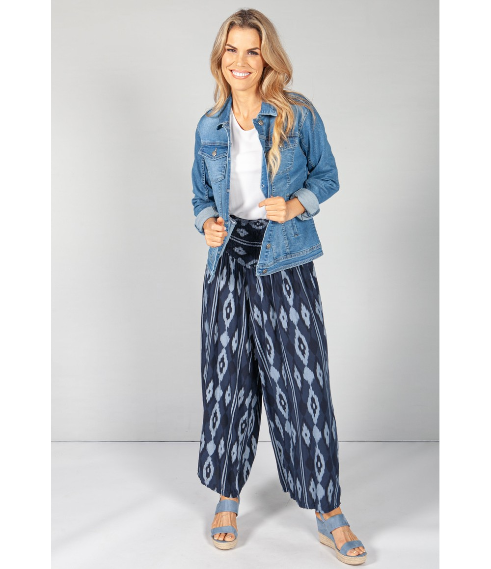 Pamela Scott Night Navy Abstract Print Trousers
